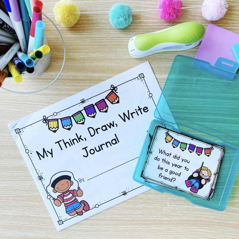 ALT Text: Do you need fun summer writing prompts for your Kindergarten, first, or second grade students? Think, Draw, Write is an engaging way to keep students writing, all the way until the last day of school!