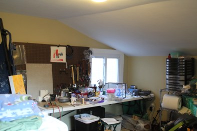 My studio is a smallish room upstairs behind the kitchen.