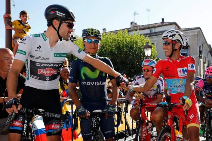 13 September 2015 70th Vuelta a Espana Stage 20 : Alcala de Henares - Madrid DUMOULIN Tom (NED) Giant - Alpecin ARU Fabio (ITA) Astana, Maillot Rojo Photo : Yuzuru SUNADA