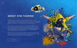 Graphic design trends 2020 example: Street art style web design for a music agency
