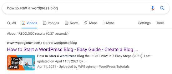 WordPress video SEO search results page