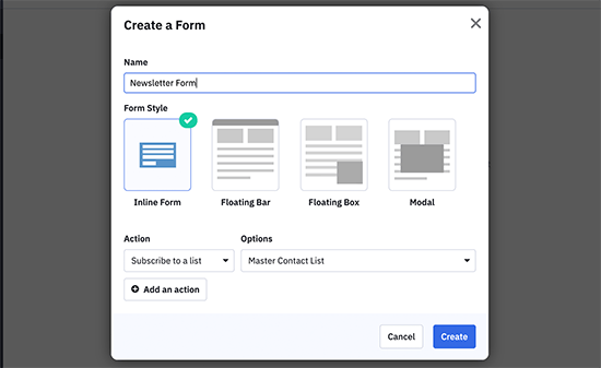 Create ActiveCampaign form