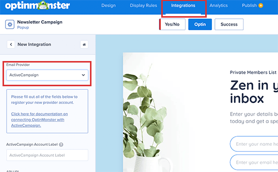 Connect ActiveCampaign to your OptinMonster account