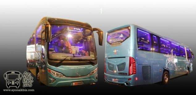 Bus terbaru Evolander front and rear view