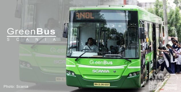 Green bus Scania