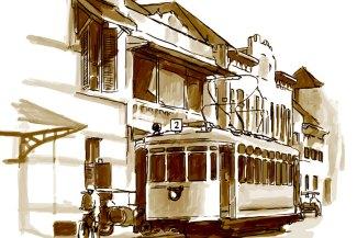 Tiang pantograf di Jalan Rajawali