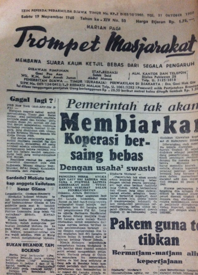 Sisa Trompet Masjarakat (tertanggal 19 November 1960) yang dapat diamankan Oei. Foto: Kathleen Azali