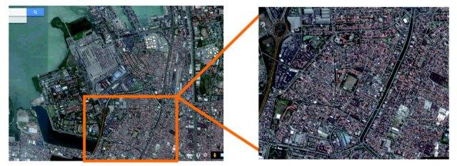 Citra satelit dari Google Maps yang menunjukkan area Kelurahan Krembangan Utara, kelurahan yang menjadi lokasi pemukiman terpadat di Kawasan Perak. Sebagian besar pemukim di sini datang ke kawasan Perak pada tahun 1960-an hingga 1990-an.