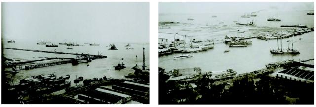 Dua foto yang menggambarkan perkembangan pembangunan dermaga utara dari Pelabuhan Perak. Foto kiri menggambarkan tahun 1913 dan foto kanan di tahun 1915. Tampak kentara dermaga utara yang sekarang bernama Dermaga Jamrud di tahun 1913 masih berupa dinding penahan laut.
