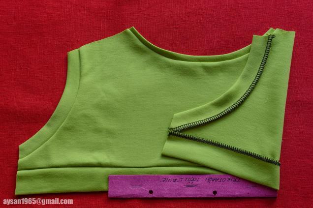 Trikotaaži töötlemine - 6 cm kandiga allääre töötlemine, 1 cm kandiga kaelaaugu töötlemine, 3 cm kandiga käeaugukaarte töötlemine