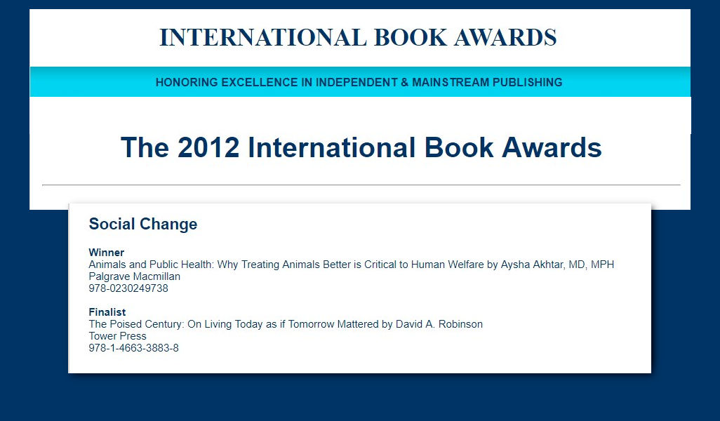 Animals and Public Health announced as winner by the International Book Awards