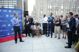 Patrick McEnroe addressing crowd at NYC Citi Dining Series