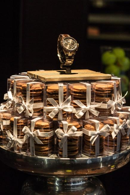 Rado Timepiece display featuring FP Patisserie macarons