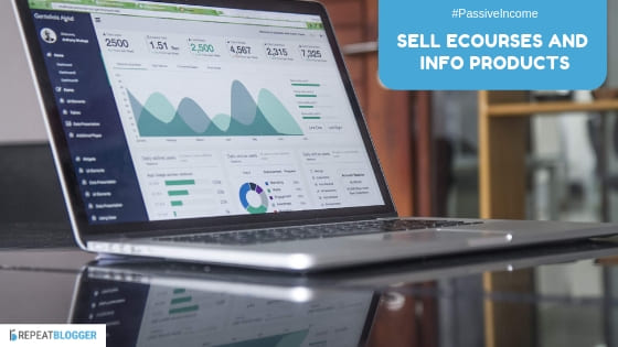 passive income businesses, sell ecourses and info products image