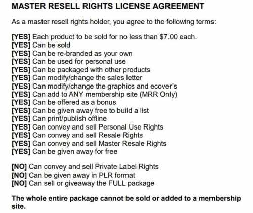 Less strict Master Resell Rights License MRR Example