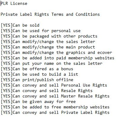 Private Label Rights PLR License Example Image
