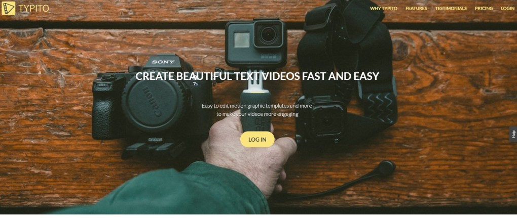 convert text to video typito homepage