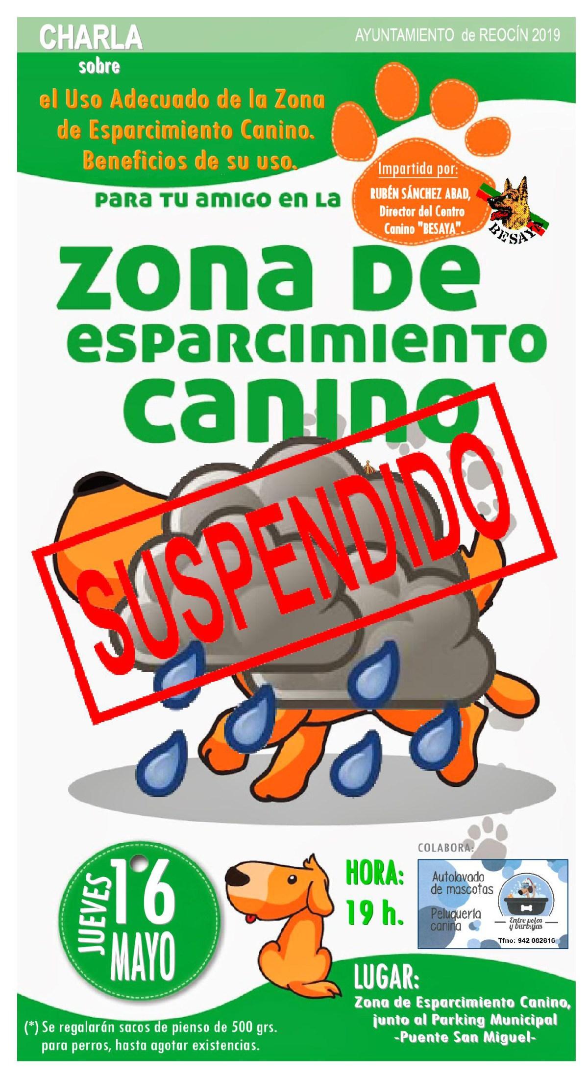 suspendido charla zona esparcimiento canino 16 mayo