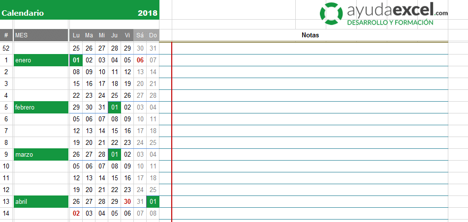 calendario excel 2018 - Etame.mibawa.co