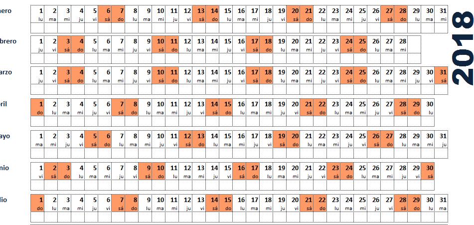 calendario excel 2018 plantilla
