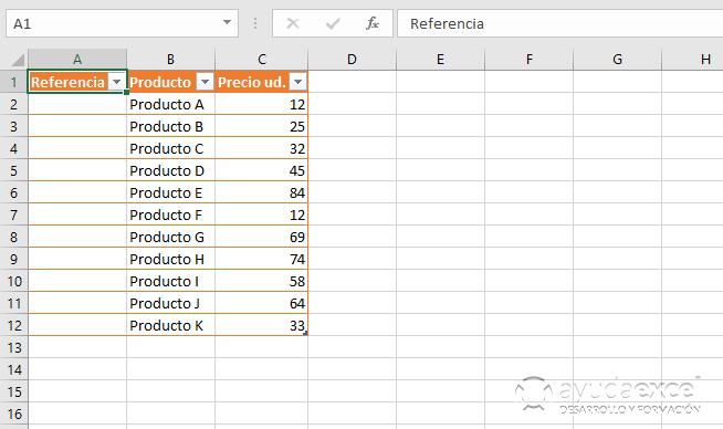 tabla crear numeros consecutivos en excel