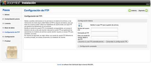 Configuracion FTP Joomla
