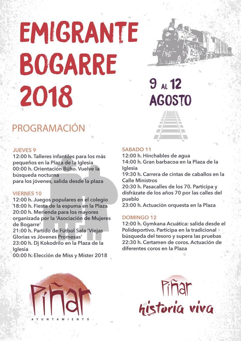 Fiestas del Emigrante de Bogarre 2018 -- Programación