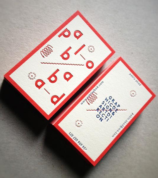 Desain Kartu Nama dengan Cetak Letter Press - pabloabad