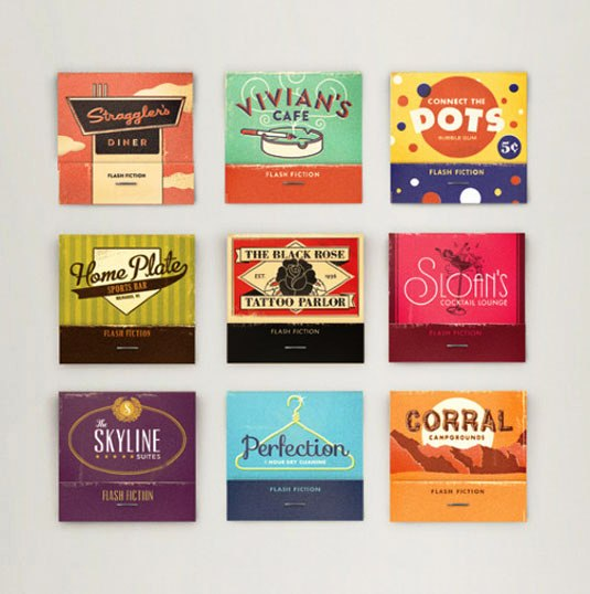 Desain Kemasan Unik Menarik - packaging design - Flash Fiction Matchbooks