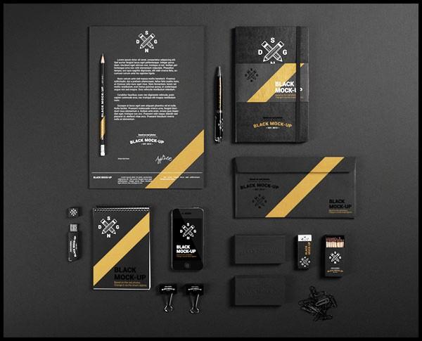 Desain Stasioneri Inspiratif Siap Print dan Cetak - Black Mock-up