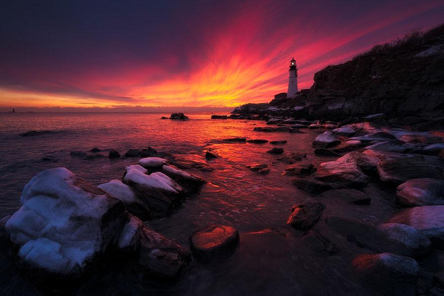 Mercusuar Terindah di Dunia - Gambar Foto Lampu Mercusuar Portland Head Light, Maine, USA