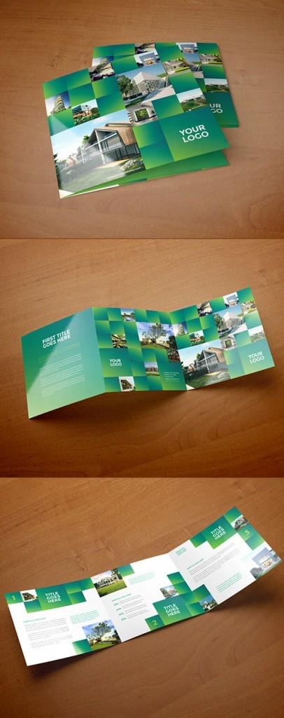 Contoh Desain Brosur Lipat Tiga - Contoh-Desain-Brosur-Lipat-3-terbaru-Square-Green-Real-Estate-Trifold