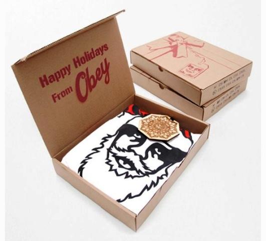 Desain Kemasan Packaging Kaos T Shirt Kreatif Bagus - Kemasan-T-Shirt-Design-Obey-Karton-Kardus-Biasa