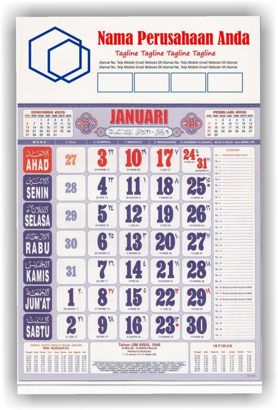 Kalender Cetak bagi Perusahaan dan Contoh Desain Kalender Kerja - Kalender Kerja Wuku 2 Warna