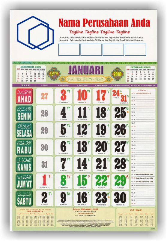 Kalender Cetak bagi Perusahaan dan Contoh Desain Kalender Kerja - Kalender Kerja Wuku Full Color