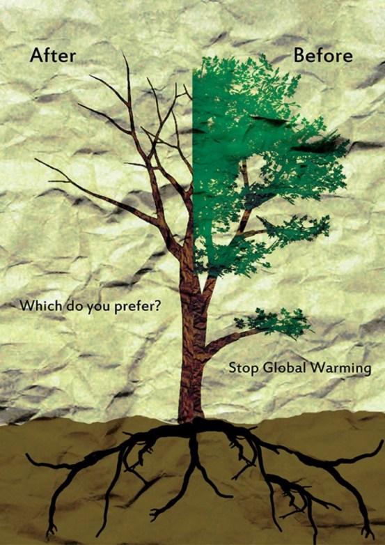 33 Contoh Poster Adiwiyata Go Green Lingkungan Hidup Hijau - Global-Warming-Before-After