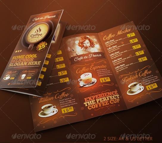 Desain Brosur:  Brosur Kafe Kopi Pilihan Desain Bagus Untuk Bsnis Coffee
