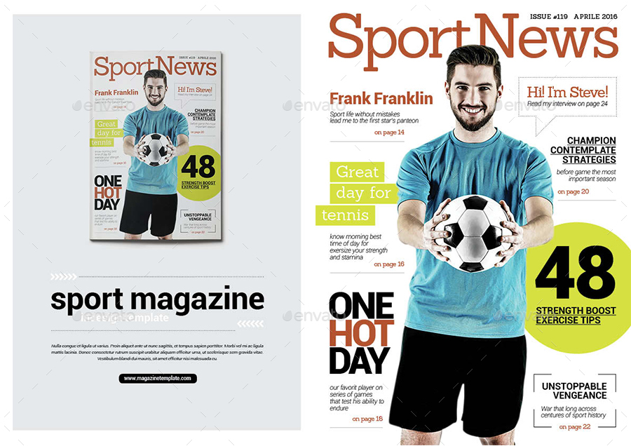 Template Desain Majalah Olahraga Sepak Bola