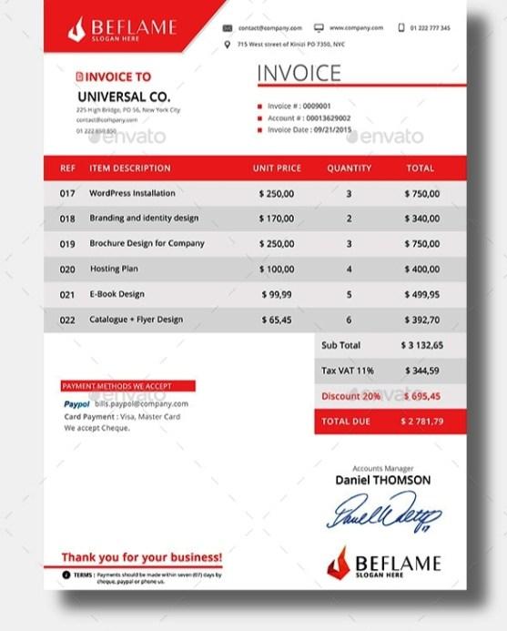 Desain Invoice Template
