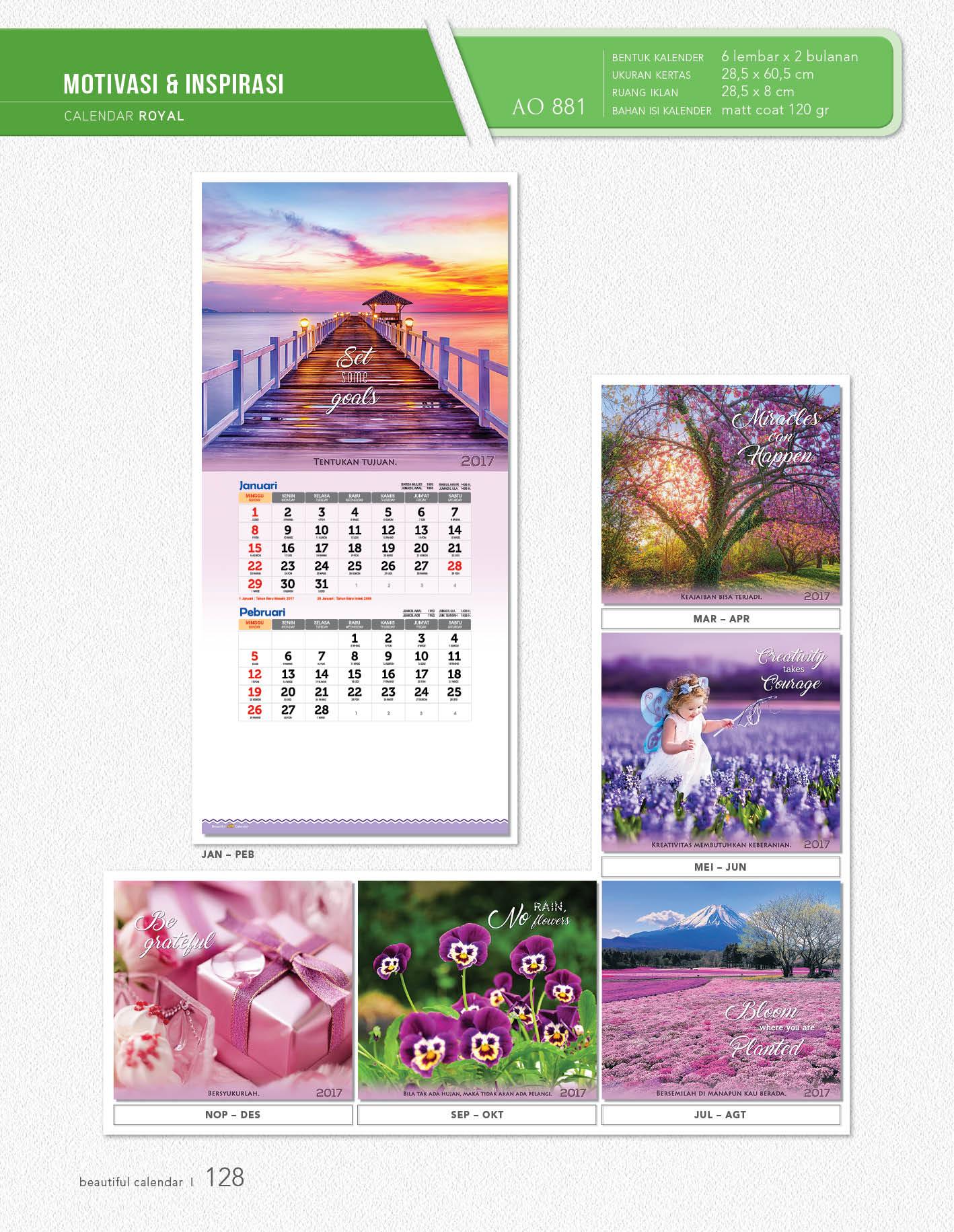 Kalender Dinding Royal Standard AO 881 – 885 Blangko Percetakan