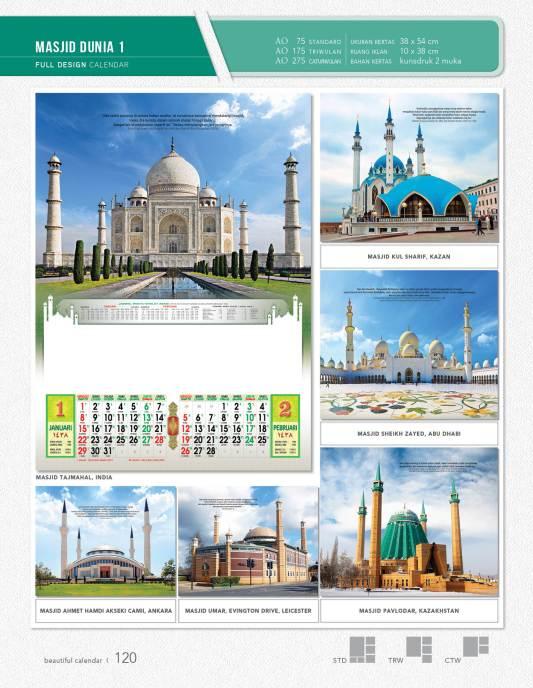 Kalender Full Desain Standrd Blanko AO
