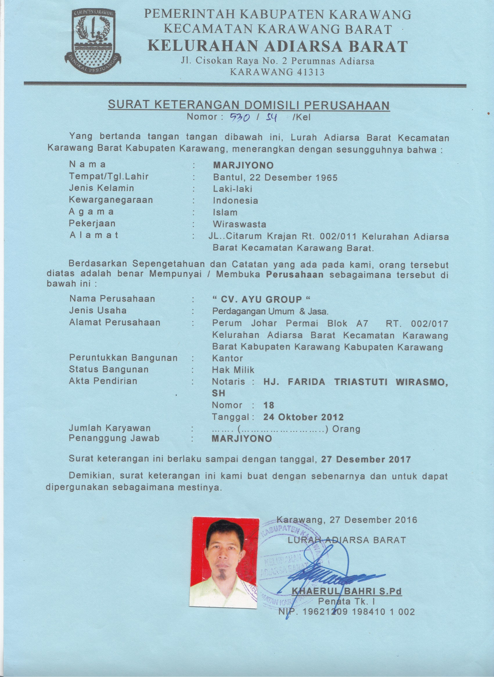 Dokumen Legalitas CV Ayu Group Domisili