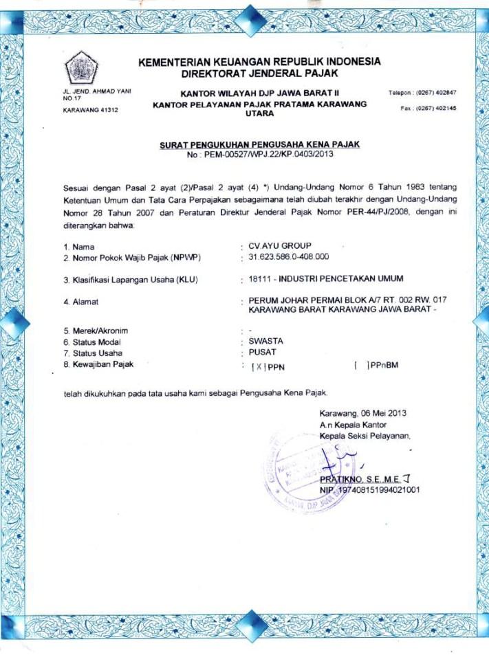 Dokumen Legalitas CV Ayu Group PKP