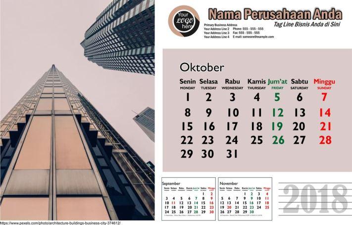 Template Kalender 2018 Gedung Arsitektur Free Download Libur Nasional