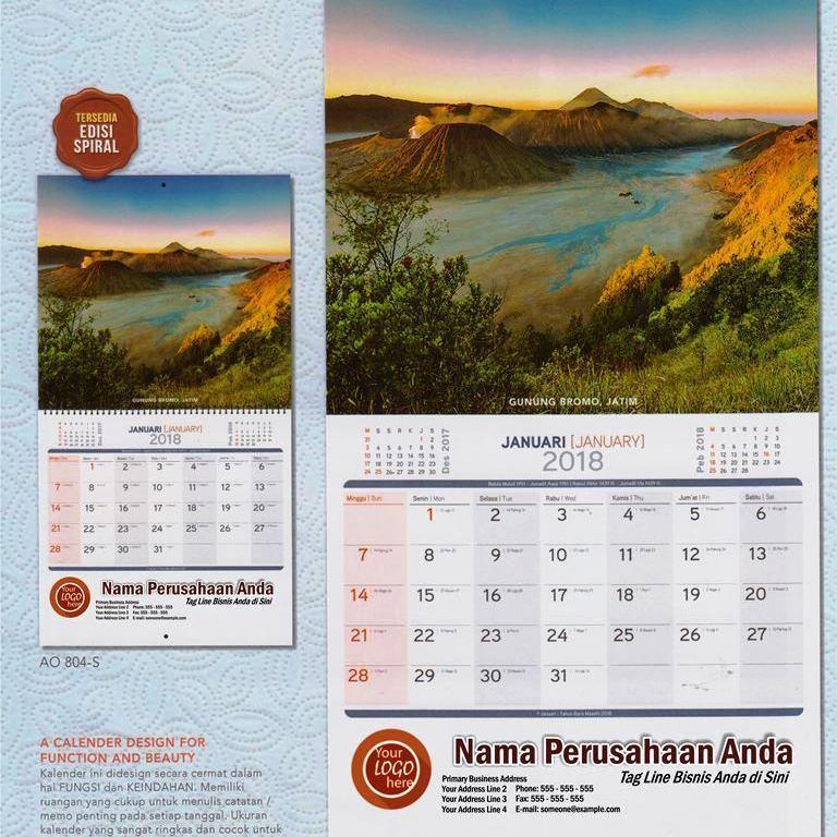 Kalender Dinding Executive 2018 Gambar Pesona Alam Indonesia AO 804