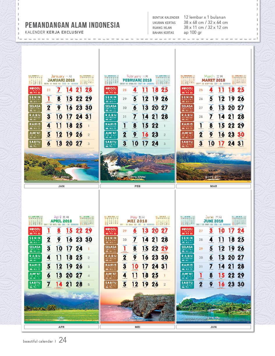 Kalender Kerja 2018 Desain Exclusive AO Blangko