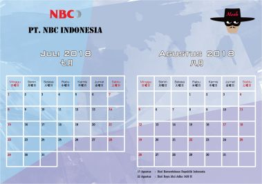 Produk Kalender Meja 2018 PT NBC File Template Free Download