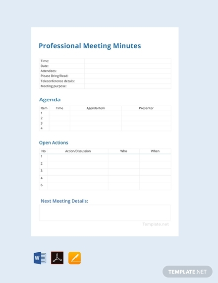 Template Meeting Minute