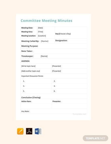 Template Meeting Minute