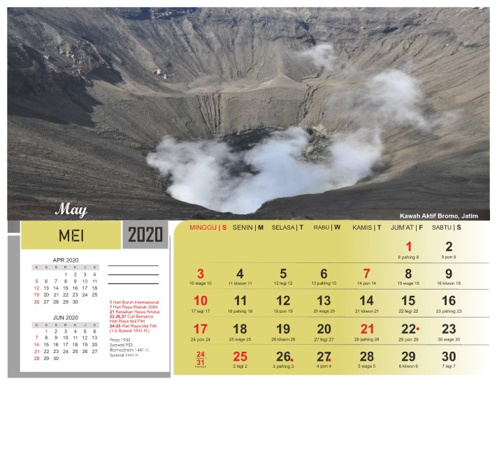Kalender Meja 2020 Pemandangan Alam Indonesia
